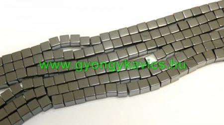 Hematit Kocka Ásványgyöngy Gyöngyfüzér 7x7x4mm