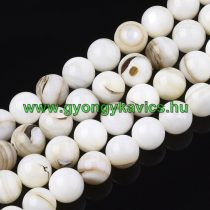 Fehér Kagyló Gyöngy Gyöngyfüzér 8mm