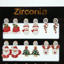 HÓEMBER Karácsonyi Cirkón Cirkónia Strassz Fülbevaló Arany Színű Fém Pálcán