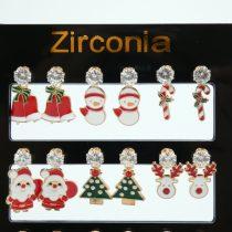 KARÁCSONYFA Karácsonyi Cirkón Cirkónia Strassz Fülbevaló Arany Színű Fém Pálcán