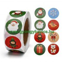 Karácsonyi (9) Matrica Kerek 25mm (500db)