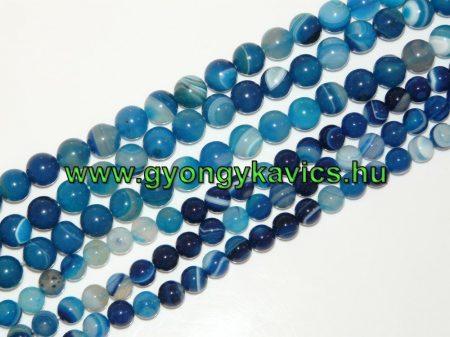 Kék Achát Ásványgyöngy  10mm