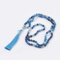 Kék Achát (5) Ásvány Nyaklánc Mala Ajándék Zsákvászon Tasakban 8mm 108 db Gyöngy 107cm