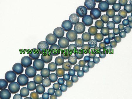 Kékeszöld Druzy Achát Ásványgyöngy 10mm