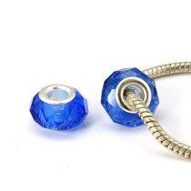 Kék Ezüst Színű Fazettált Üveg Charm Nyaklánc Karkötő Ékszer Dísz Köztes 14x10mm