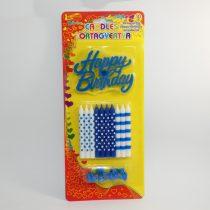 Kék Fehér Születésnapi Tortagyertya 8cm 10db