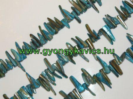 """Kék Kagyló """"Cápafog"""" Gyöngy Gyöngyfüzér 2-4cm x 4-8mm"""