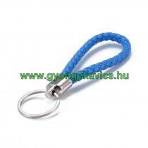 Kék Műbőr Ezüst Színű Kulcstartó Karika 120x30mm