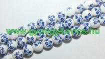Kék Virágos Porcelán Gyöngyfüzér 10mm