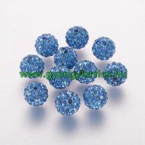 Kék Színű Nyaklánc FÜLBEVALÓ ALAP (félig átfúrt) Ékszer Dísz Polymer Polimer Shamballa Strassz Kövekkel 10mm