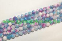 Kék Rózsaszín Fehér Jade Ásványgyöngy Gyöngyfüzér 10mm