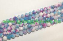 Kék Rózsaszín Fehér Jade Ásványgyöngy Gyöngyfüzér 8mm