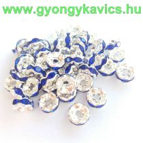 Ezüst Színű Hullámos Szélű Nyaklánc Karkötő Ékszer Dísz Kék Strassz Kövekkel 6mm