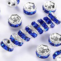 Ezüst Színű Nyaklánc Karkötő Ékszer Dísz Kék Strassz Kövekkel 8mm