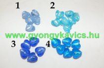 Kék (3) Szív Üveggyöngy 12x8mm