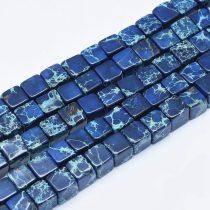 Kék Tengeri Jáspis Regalit Kocka Ásványgyöngy Gyöngyfüzér 6x6mm
