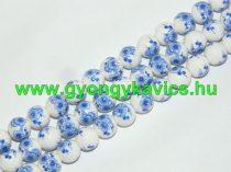 Kék Virágos Porcelán (2-es típus) Gyöngyfüzér 10mm