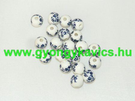 Kék Virágos Porcelán Gyöngy 10mm