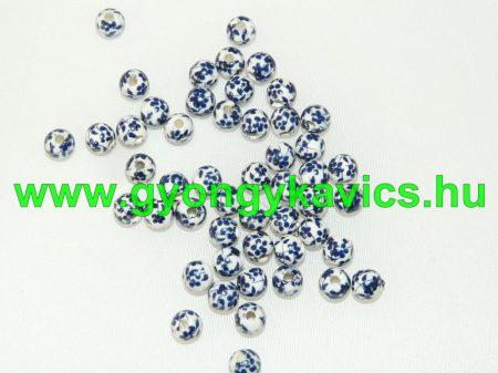 Kék Virágos Porcelán Gyöngy 6mm