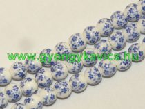 Kék Virágos Porcelán Gyöngyfüzér 8mm
