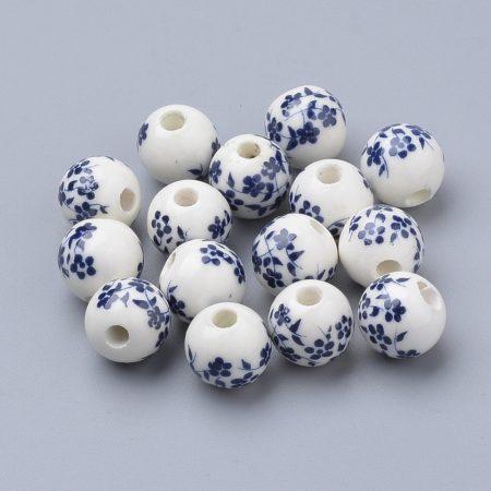 Kék Virágos Porcelán Gyöngy 8mm