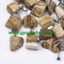 Képjáspis Ásvány Medál Ezüst Színű Akasztóval 15-35x10-20x5-15mm