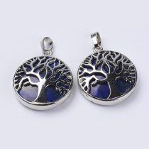 Ezüst Színű Lápisz Lapis Lazuli Életfa Ásvány Medál 31x8mm
