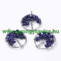 Ezüst Színű Lápisz Lapis Lazuli Életfa Ásvány Medál 29mm
