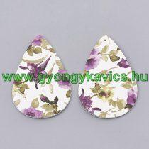 Lila Fehér Zöld Színű Virágos Műbőr Fülbevaló Kulcstartó Nyaklánc Medál 55x36mm