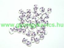 Lila Virágos Porcelán Gyöngy 10,5x8mm