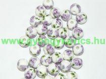 Lila Virágos Porcelán Gyöngy 10mm