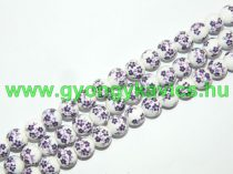 Lila Virágos Porcelán Gyöngy 12mm