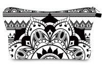 Fekete Fehér Mandala Jóga Kistáska Neszeszer Tároló Kozmetikai Táska 22x14cm