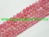 Matt Selyemfényű Rózsaszín Angelit Ásványgyöngy Gyöngyfüzér 10mm