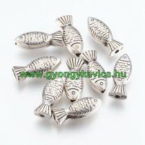 Ezüst Színű Műanyag Hal Nyaklánc Karkötő Ékszer Dísz Közdarab Köztes 22,5x9x6,5mm
