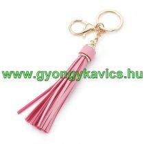 Rózsaszín Színű Műbőr Bojt Táskadísz Kulcstartó Fityegő 11+7cm
