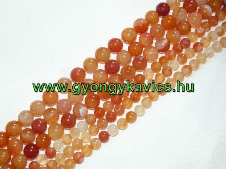 Narancssárga Achát Ásványgyöngy 12mm