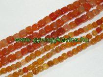 Narancssárga Kocka Achát Ásványgyöngy Gyöngyfüzér 10x10mm