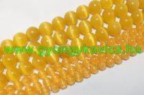 Narancssárga Macskaszem (Üveg) Ásványgyöngy Gyöngyfüzér 6mm