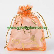 Narancssárga Szíves Organza Díszzacskó Dísztasak 10x12cm