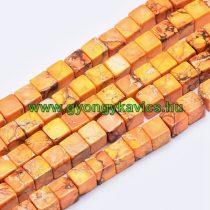 Narancssárga Tengeri Jáspis Regalit Kocka Ásványgyöngy Gyöngyfüzér 6x6mm