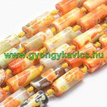 Narancssárga Tűz Achát Oszlop Ásványgyöngy 20x8mm