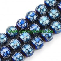 Om Mani Padme Hum Mantra Feng Shui Kék Gyögy Üveggyöngy 10mm
