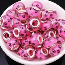Pink Rózsaszín Fekete Műgyanta Kutyatappancs Charm Nyaklánc Karkötő Ékszer Dísz Köztes 13,5x9,5mm