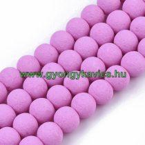 Pink Rózsaszín Színű Festett Üveggyöngy Lávakő Imitáció Gyöngyfüzér 8mm