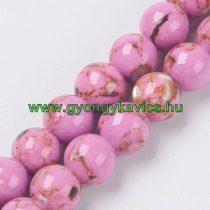 Pink Rózsaszín Szintetikus Gyöngy Valódi Kagyló Darabokkal Gyöngyfüzér 6mm