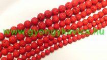 Piros Festett Lávakő Ásványgyöngy Gyöngyfüzér 10mm