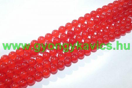 Piros Jade (világos) Ásványgyöngy Gyöngyfüzér 6mm