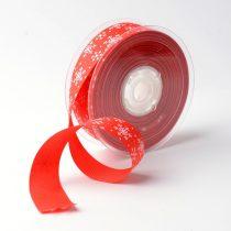 Piros Karácsonyi Hópelyhes Szalag 25mm 1m