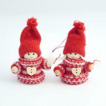 Piros Karácsonyi Manó Lány Karácsonyfadísz 7cm